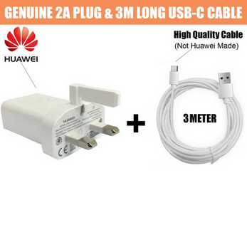 Picture of Genuine Huawei 2A Fast Charger Plug & 3M USB Type-C Cable For P9 P10 Plus Lot UK