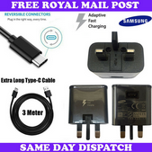 Picture of Genuine Samsung Fast Charger Plug & 3M USB-C Cable For Galaxy S20 S20+ S20 Ultra