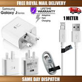 """Picture of Genuine Samsung Fast Charger Plug &1M USB Cable For Galaxy """"J"""" Series Phones Lot"""