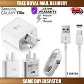 """Picture of Genuine Samsung Fast Charger Plug &1M USB Cable For Galaxy """"A"""" Series Phones Lot"""