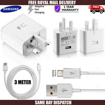 Picture of Genuine Samsung Fast Wall Charger Plug & 3m Micro USB Cable For Galaxy Phones Lot