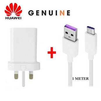 Picture of Genuine Huawei Fast Mains Charger Adapter Plug & USB-C Data Cable For Phone Lot