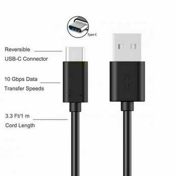 Picture of USB TYPE-C DATA CABLE CHARGER LEAD FOR SONY XPERIA Experia 1/10/10+ L3/L4 BLACK