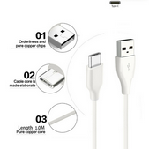 Picture of New 2 Metre Long USB Type-C Charger Cable Data Sync Cord For All Mobile Phones