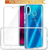 Picture of Transparent Back Case Cover + Tempered Glass Screen Protector For Samsung Galaxy A20